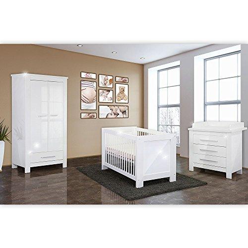 4-tlg-Babyzimmer-Enni-mit-2-trigem-Kleiderschrankin-in-wei-Hochglanz-0