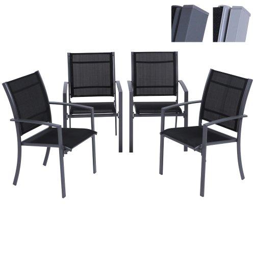 moebeldeal 4er set alu gartenstuhl. Black Bedroom Furniture Sets. Home Design Ideas