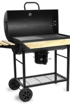 BBQ02-Grill-Holzkohle-Smoker-Grillwagen-Standgrill-XXL-Barbecue-inkl-Warmhalterost-Kohlenbehlter-Thermometer-0