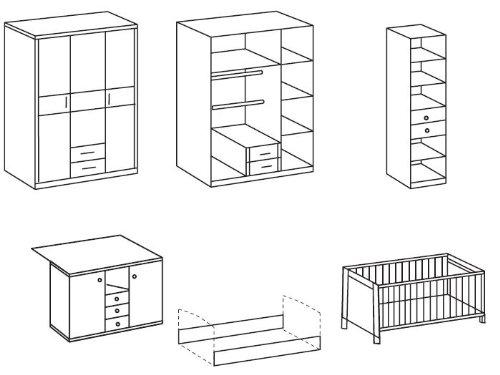 Babyzimmer-Kinderzimmer-Schrank-Wickelkommode-Bett-Sgerau-Jette-5-teilig-0-0