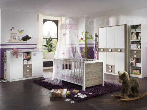 Babyzimmer-Kinderzimmer-Schrank-Wickelkommode-Bett-Sgerau-Jette-5-teilig-0