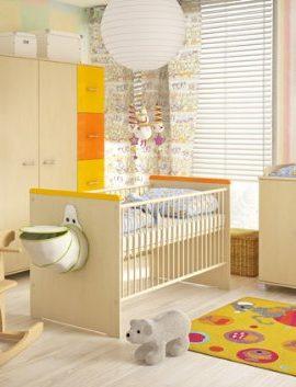 Babyzimmer-komplett-mit-Bett-Kleiderschrank-Schreibtisch-Bcherregal-und-Kommode-Set-2-ahorn-gelb-orange-0
