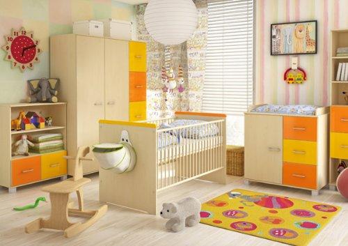 moebeldeal babyzimmer komplett mit bett kleiderschrank schreibtisch b cherregal und kommode. Black Bedroom Furniture Sets. Home Design Ideas