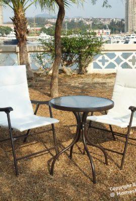 Gartenmbel-Set-Glastisch--2-Klappsthlen-Bistro-Bequem-und-praktish-sessel-mit-schaumstoffpolster-und-Sicherheitsschloss-Sahne-0