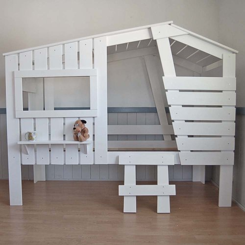 moebeldeal h ttenbett spielbett kinderbett strandhaus weiss massivholz 90x200cm. Black Bedroom Furniture Sets. Home Design Ideas