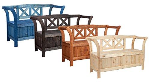 moebeldeal impag gartenbank truhenbank mit kreuzlehne inkl stauraum wetterfest lasiert kirsch. Black Bedroom Furniture Sets. Home Design Ideas