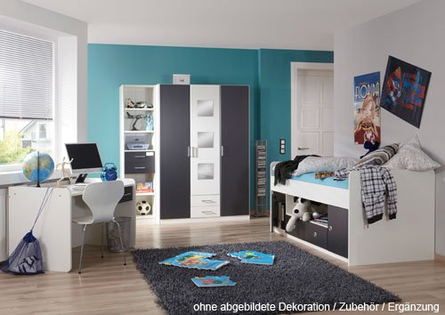 moebeldeal jugendzimmer 3 tlg absetzungen in anthrazit. Black Bedroom Furniture Sets. Home Design Ideas