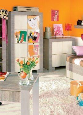 Jugendzimmer-Kinderzimmer-NEW-GENERATION-Eiche-GrauCreme-Jugendmbel-komplett-Set-Kleiderschrank-2-trig-Bett-Schreibtisch-Wandregal-0