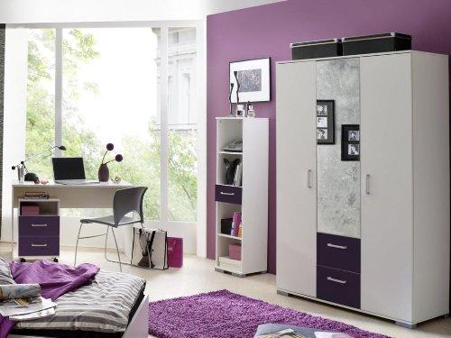 moebeldeal jugendzimmer steffi weiss lila 6 tlg. Black Bedroom Furniture Sets. Home Design Ideas