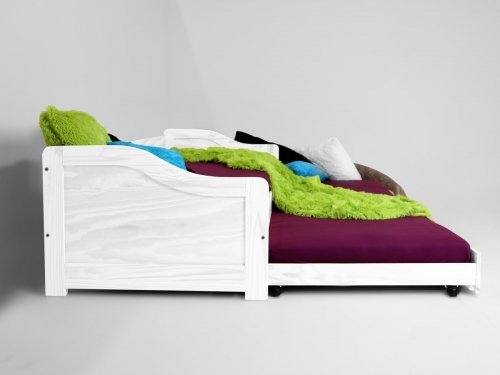 moebeldeal kmh ausziehbett aus massivem pinienholz 200 x 90 cm weiss 201101. Black Bedroom Furniture Sets. Home Design Ideas