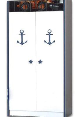 Kapitn-Piraten-Kleiderschrank-fr-Kinderzimmer-2-trig-mit-Anker-und-Seestern-Ornamenten-0