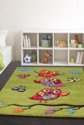 Kinder-Teppich-Niedliche-Eulen-Grn-Creme-Rot-Blau-Orange-Grsse160x230-cm-0