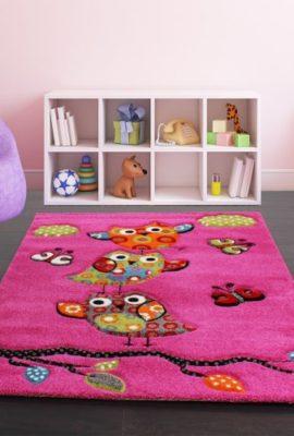 Kinder-Teppich-Niedliche-Eulen-Pink-Fuchsia-Gruen-Blau-Grsse120x170-cm-0