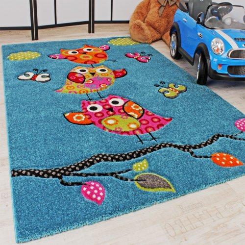 Kinder-Teppich-Niedliche-Eulen-Trkis-Blau-Orange-Grn-Pink-Grsse120x170-cm-0-0
