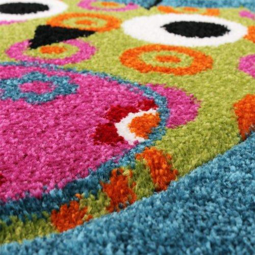 Kinder-Teppich-Niedliche-Eulen-Trkis-Blau-Orange-Grn-Pink-Grsse120x170-cm-0-1