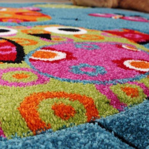 Kinder-Teppich-Niedliche-Eulen-Trkis-Blau-Orange-Grn-Pink-Grsse120x170-cm-0-3