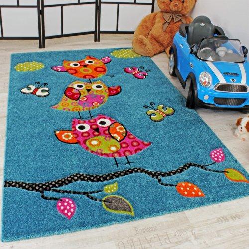 Kinder-Teppich-Niedliche-Eulen-Trkis-Blau-Orange-Grn-Pink-Grsse120x170-cm-0
