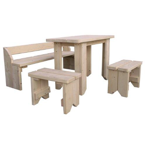 moebeldeal kindersitzgruppe mit kindertisch zwei st hlen und bank aus holz fsc unbehandelt von. Black Bedroom Furniture Sets. Home Design Ideas