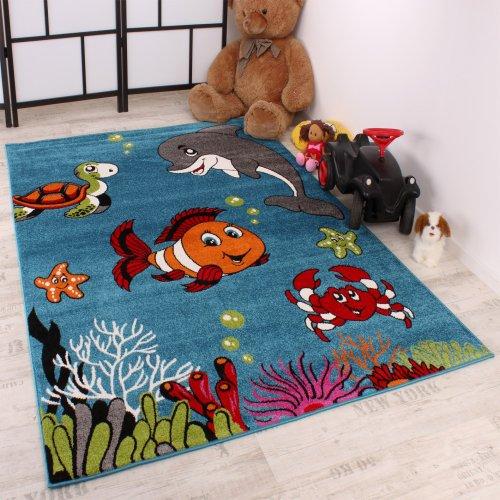 Kinderteppich-Klaunfisch-Aqua-Kinderzimmer-Teppich-Design-Trkis-Grn-Creme-Pink-Grsse120x170-cm-0