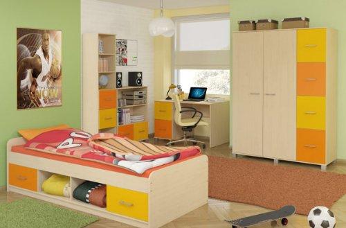 moebeldeal kinderzimmer komplett mit bett kleiderschrank schreibtisch b cherregal und kommode. Black Bedroom Furniture Sets. Home Design Ideas
