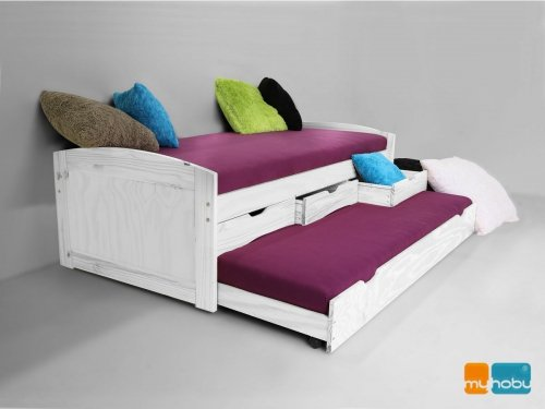 moebeldeal kojenbett funktionsbett schubladenbett julia kiefer massiv wei lackiert. Black Bedroom Furniture Sets. Home Design Ideas