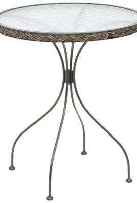 Siena-Garden-104862-Bistrotisch-Siesta-Gestell-Metall-schwarz-Geflecht-bi-color-mocca-Glasplatte--64-x-70-cm-0