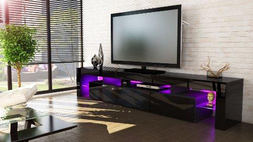 moebeldeal tv board lowboard lima v2 in schwarz schwarz hochglanz. Black Bedroom Furniture Sets. Home Design Ideas