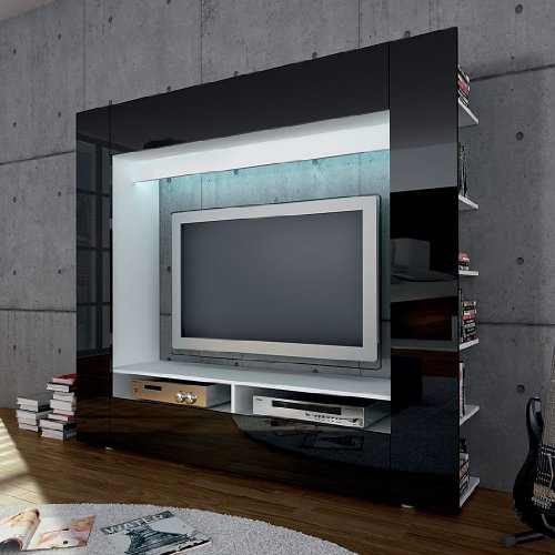 moebeldeal tv medienwand schwarz hochglanz. Black Bedroom Furniture Sets. Home Design Ideas