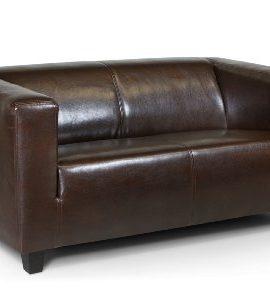 B-famous-2-Sitzer-Sofa-Kuba-149-x-88-cm-Glanzleder-braun-0