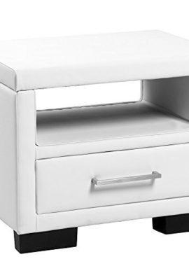 CORIUM-Nachttisch-mit-Schublade-Weiss-Kunstleder-Nachtkommode-Beistelltisch-0