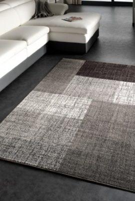 Designer-Teppich-Modern-Kariert-Kurzflor-Design-Meliert-In-Grau-Creme-Braun-Grsse160x230-cm-0