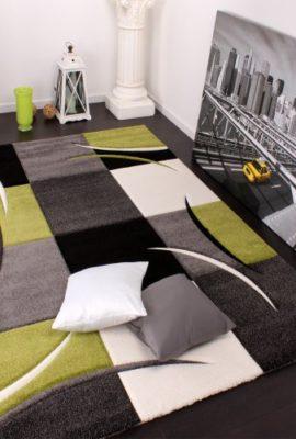 Designer-Teppich-mit-Konturenschnitt-Karo-Muster-Grn-Schwarz-Grsse120x170-cm-0