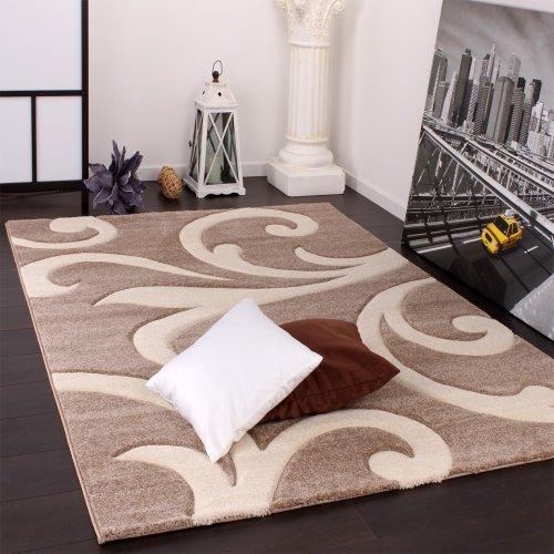 Designer-Teppich-mit-Konturenschnitt-Modern-Beige-Creme-Grsse160x230-cm-0