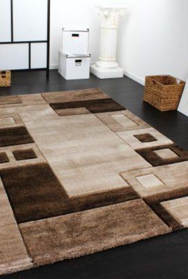 Edler-Designer-Teppich-Konturenschnitt-Kariert-in-Braun-Beige-Meliert-Grsse160x230-cm-0