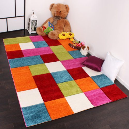 Kinder-Teppich-Karo-Design-Multicolour-Grn-Rot-Grau-Schwarz-Creme-Pink-Grsse120x170-cm-0-2