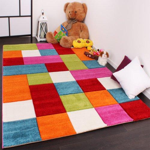 Kinder-Teppich-Karo-Design-Multicolour-Grn-Rot-Grau-Schwarz-Creme-Pink-Grsse120x170-cm-0