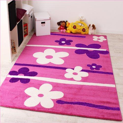 Kinderteppich-Blumen-Muster-Pink-Lila-Weiss-Grsse160x220-cm-0