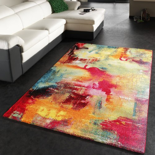Teppich-Modern-Design-Teppich-Leinwand-Optik-Multicolour-Grn-Blau-Rot-Gelb-Grsse120x170-cm-0