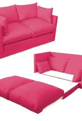 Kinder-Schlafsofa-2-Sitzer-leicht-ausziehbar-100--Baumwolle-Fuchsia-Pink-Vom-Sofa-zum-Bett-in-Sekunden-0