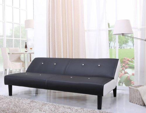 NEG-Design-Schlafsofa-HELIOS-schwarzwei-mit-Napalon-Leder-Bezug-Klappsofa-3-Sitzer-Liegeflche-179x108cm-sehr-bequem-0-1