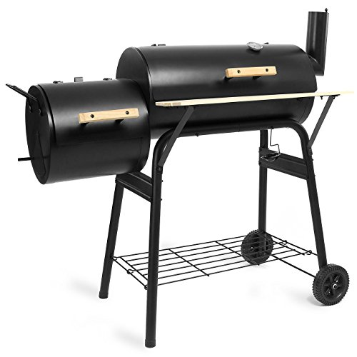 BBQ01-Grill-Holzkohle-Smoker-Grillwagen-Kamin-American-XL-Barbecue-inkl-Feuerkammer-und-Thermometer-0-1