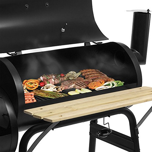 BBQ01-Grill-Holzkohle-Smoker-Grillwagen-Kamin-American-XL-Barbecue-inkl-Feuerkammer-und-Thermometer-0-2