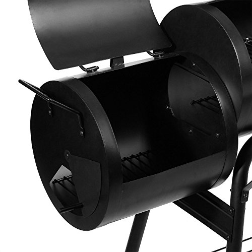 BBQ01-Grill-Holzkohle-Smoker-Grillwagen-Kamin-American-XL-Barbecue-inkl-Feuerkammer-und-Thermometer-0-4