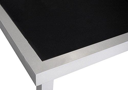 Esstisch-AluminiumGlas-180x90cm-Gartentisch-Alutisch-Terrassentisch-Balkontisch-Gartenmbel-Terrassenmbel-Silber-Schwarz-0-0