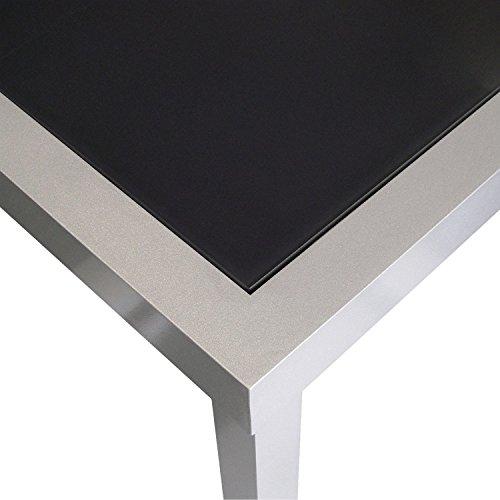 Esstisch-AluminiumGlas-180x90cm-Gartentisch-Alutisch-Terrassentisch-Balkontisch-Gartenmbel-Terrassenmbel-Silber-Schwarz-0-1