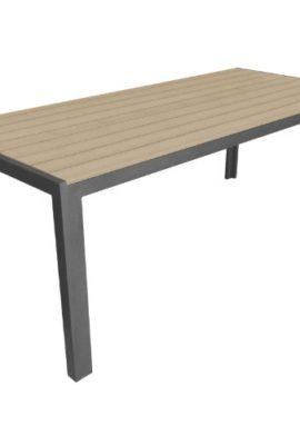 XXL-Gartentisch-Aluminium-Esszimmertisch-Polywood-Non-Wood-Tisch-Tischplatte-205x90cm-Grau-Beige-Anthrazit-0