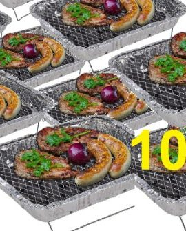 10-x-Komplettset-Einweggrill-Edelstahl-Grill-Holzkohlegrill-Klappgrill-Gartengrill-Picknickgrill-MIT-HOLZKOHLE-SCHNELL-UND-SICHER-GRILLEN-Faltgrill-0