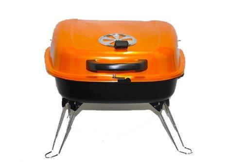 BBQ-Grill-Picknickgrill-Tragbarer-Grill-34cm-Grn-Trkis-Rosa-Orange-Orange-0-1