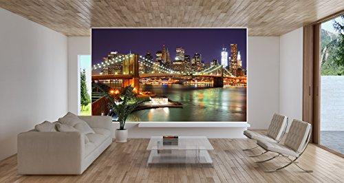 Brooklyn-Bridge-Fototapete-New-York-City-Skyline-mit-Brooklyn-Bridge-leuchtend-bei-Nacht-XXL-Wandbild-Wanddeko-210-x-140-cm-0-1