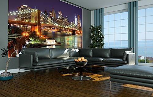 Brooklyn-Bridge-Fototapete-New-York-City-Skyline-mit-Brooklyn-Bridge-leuchtend-bei-Nacht-XXL-Wandbild-Wanddeko-210-x-140-cm-0-2